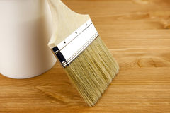 Wood texture, can and paintbrush / housework. / close-up Stock Photography