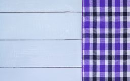 Wood texture. Checkered tablecloth on wooden table Stock Photo