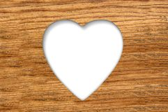Wood texture with cut heart Royalty Free Stock Image