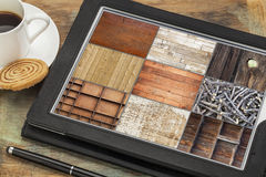 Wood texture on digital tablet stock photography