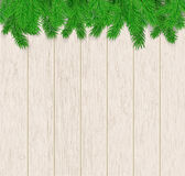 Wood texture with fir branches Royalty Free Stock Photos