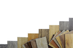 Wood texture floor :oak tile, maple tile, chestnut tile, walnut. Samples of laminate and vinyl floor tile on wooden Background make a new floor for renovate or Stock Photo