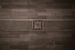 Wood texture floor pattern with flower carved in middle grunge style royalty free illustration