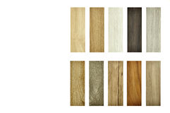 Wood texture floor Samples of laminate, veneer, vinyl floor tile. Wood texture floor on isolate Background. Sample pack of wooden flooring laminate isolated on Royalty Free Stock Photos
