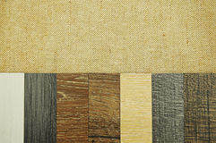 Wood texture floor Samples of laminate and vinyl floor tile on w royalty free stock image