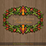 Wood texture with floral hand draw frame from flower leaves berries and bird Royalty Free Stock Photography