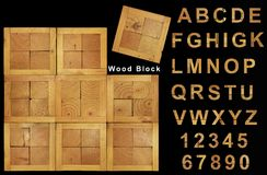 Wood texture font Stock Image