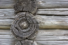 Wood Texture. Fragment Of Old Log House. Royalty Free Stock Images
