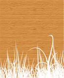 Wood texture with grass Royalty Free Stock Images