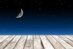 Wood texture and half moon Stock Photography
