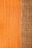 Wood texture with hessian. Rural style stock photography