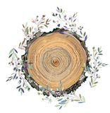 Wood texture and leaves frame for the card, banner or the promotional background, graphic illustration Stock Photos