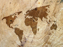 Wood texture map. Closeup of wood texture overlaid with outline map of world Royalty Free Stock Images
