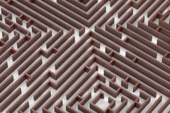 Wood texture maze. Close up 3D rendering image on white background Stock Image