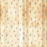 Wood texture - musical background. Watercolor notes seamless pattern