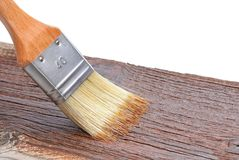 Wood texture and paintbrush Stock Images