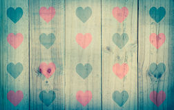 Wood texture with red black heart,vintage effect filter Royalty Free Stock Photo