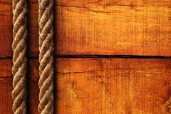 Wood texture and ropes Royalty Free Stock Photography