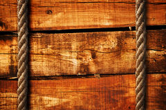 Wood texture and ropes Royalty Free Stock Images