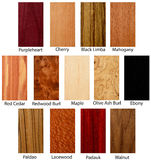 Wood textures. Wood Texture samples exotic hardwood Royalty Free Stock Images