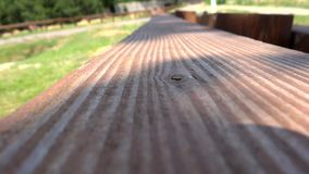 Wood texture with shadow of leaves stock footage