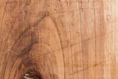 Wood texture, surface of a cutting board made of beech has many scratches Royalty Free Stock Image
