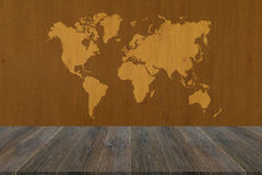 Wood texture surface with Wood terrace and world map Royalty Free Stock Image