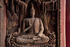 Wood texture,thai-temple,thai art Royalty Free Stock Photo
