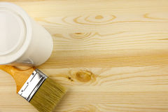 Wood texture and tin, paintbrush. / covering by varnish Royalty Free Stock Photography