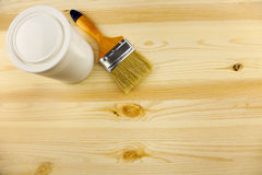 Wood texture and tin, paintbrush. / covering by varnish Stock Images