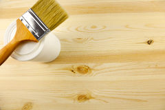 Wood texture and tin, paintbrush. / covering by varnish Royalty Free Stock Image