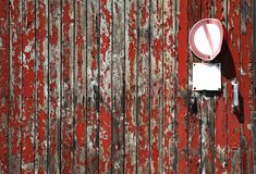 Wood texture w. weathered planks, free copy space. Red and grey wood texture with weathered planks, rough background with free copy space and blank signs on a Royalty Free Stock Photos