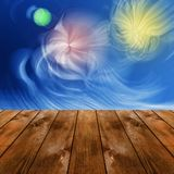 Wood platform and abstract space sky with polar lights Royalty Free Stock Photo