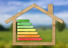 Wood Textured Energy Efficiency Certification Symbols. Inside a house shape against a blurred nature background royalty free stock photos