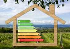 Wood Textured Energy Efficiency Certification Symbols. Inside a house shape against a nature background stock photography