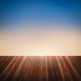 Wood textured on the sun set background Royalty Free Stock Images