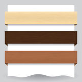 Wood textured website banner. Illustration of different colored web banners with wood texture Stock Photos