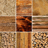 Wood textures collage Royalty Free Stock Images