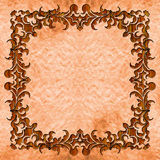Wood texturized frame with old background.  Stock Photos