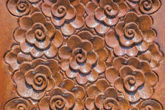 Wood Thai pattern. Wood Thai flower pattern Handmade wood carvings. Chiangmai Thailand Stock Photos