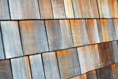 Wood tiled roof shingles Royalty Free Stock Image