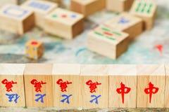 Wood tiles closeup in mahjong game Royalty Free Stock Photos