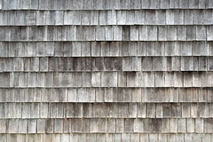 Wood tiles. Detail of Larch wood tiles, traditional construction in Chiloe stock image