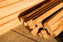 Wood timber construction material, Stack of Building Lumber Stock Image