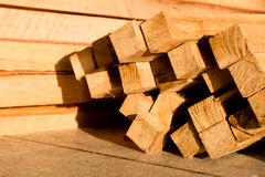 Wood timber construction material, Stack of Building Lumber Stock Photo