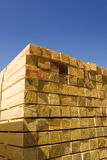 Wood timber lumber stacked Royalty Free Stock Photos