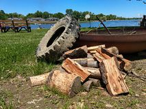 Wood and tire at a fire pit stock photography