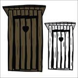Wood toilet house stock illustration