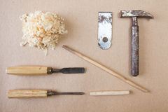 Wood tools arranged top view Royalty Free Stock Photos
