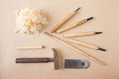 Wood tools arranged top view Royalty Free Stock Photo